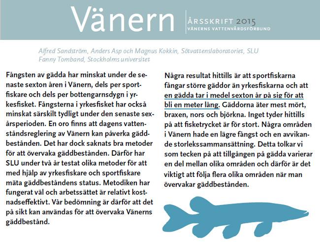 100 klubbare metergädda 100 cm vänergädda vänerns vattenvårdsförbund årsskrift 2015