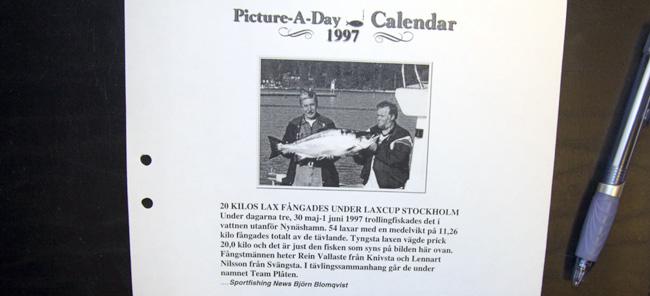 arkiv pic a day calendar june 1997 big salmon sweden outdoor bjorn blomqvist