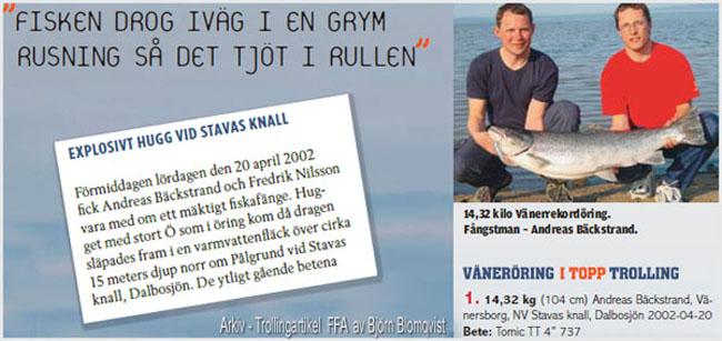 gullspångsöring i vänern 20 april 2002rekordöring-insjööring-rekord-öring-rekord-vänern-outdoor-björn-blomqvist