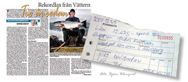 rambolax gullspångslax rekord flytring lax vätterlax vättern 25 december 2007 foto björn blomqvist outdoor