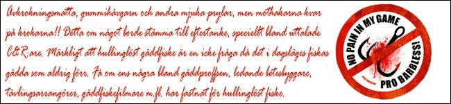 tävlingsfiske no pain in my game pro barbless hullinglöst gäddfiske