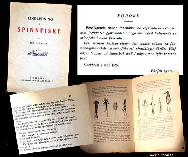 Spinnfiske Sveriges första bok om spinnfiske 1924 gäddfiske skeddrag spinnare wobbler samla fiskeböcker outdoor björn blomqvist