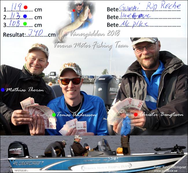 verona motor fishing team mathias thoren tomas andersson christer bengtsson vänergäddan 2018 gäddfiske gäddfisketävling