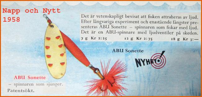 ABU Sonette spinnare napp och nytt 1958 2008 spinnaren som sjunger